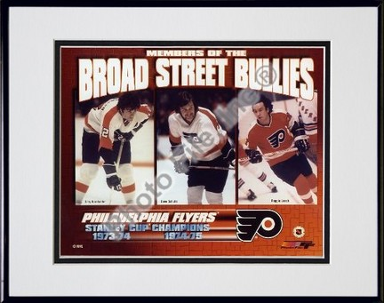 Gary Dornhoefer Dave Schultz and Reggie Leach Broad Street Bullies Double Matted 8 X 10 Photograph in Black Anodized Aluminum Frame