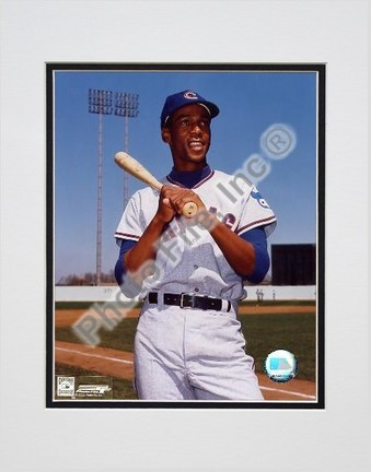 """Ernie Banks """"Bat on shoulder, Posed"""" Double Matted 8"""" x 10"""" Photograph (Unframed)"""
