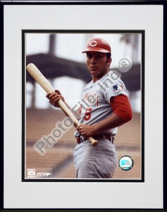 Johnny Bench With Bat Posed Double Matted 8 X 10 Photograph in Black Anodized Aluminum Frame