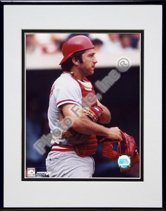 Johnny Bench Holding Catchers Mask Double Matted 8 X 10 Photograph in Black Anodized Aluminum Frame