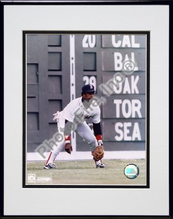Jim Rice Fielding Double Matted 8 X 10 Photograph in Black Anodized Aluminum Frame