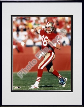 Joe Montana #6 Rocket Launcher Double Matted 8 X 10 Photograph in Black Anodized Aluminum Frame