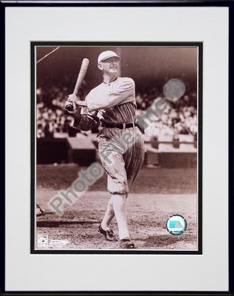 "Shoeless Joe Jackson, Chicago White Sox, Batting, Sepia, Double Matted  8"" X 10"" Photograph in Black Anodized"