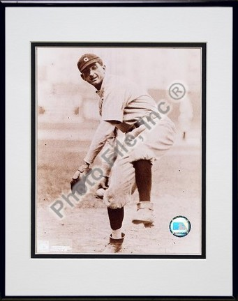 "Shoeless Joe Jackson, Chicago White Sox, Fielding, Sepia, Double Matted  8"" X 10"" Photograph in Black Anodized"