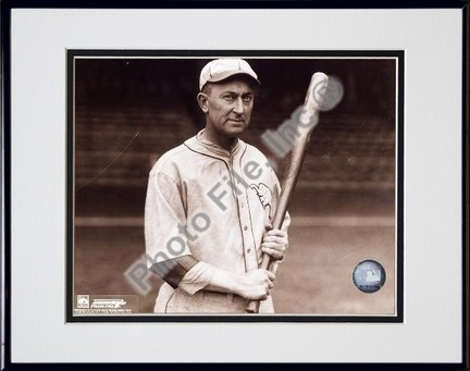 """Ty Cobb, Detroit Tigers, With Bat, Posed, Sepia, Double Matted  8"""" X 10"""" Photograph in Black Anodized Aluminum"""