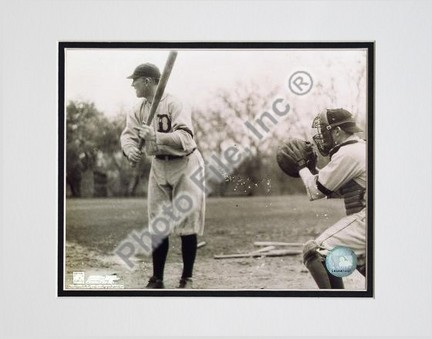 "Ty Cobb, Detroit Tigers, With Batting, Sepia, Double Matted  8"" X 10"" Photograph (Unframed)"