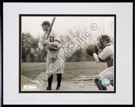 """Ty Cobb, Detroit Tigers, With Batting, Sepia, Double Matted  8"""" X 10"""" Photograph in Black Anodized Aluminum Fr"""