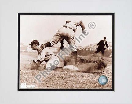 """Ty Cobb, Detroit Tigers, Sliding into Base, Sepia, Double Matted  8"""" X 10"""" Photograph (Unframed)"""