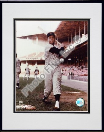 Orlando Cepeda With Bat Posed Double Matted 8 X 10 Photograph in Black Anodized Aluminum Frame