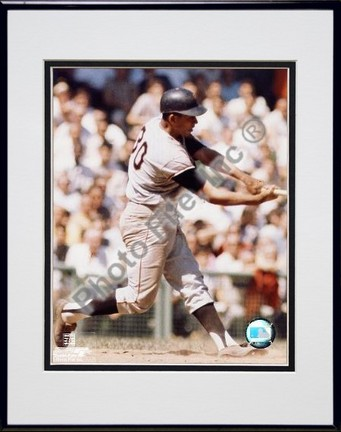 Orlando Cepeda Batting Double Matted 8 X 10 Photograph in Black Anodized Aluminum Frame
