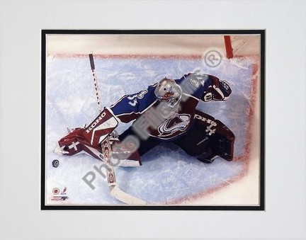 """Patrick Roy, Colorado Avalanche, Overhead Action, Double Matted  8"""" X 10"""" Photograph (Unframed)"""
