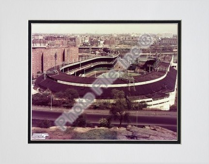 """Polo Grounds, New York Giants, Aerial View, Side Shot, Sepia, Double Matted  8"""" X 10"""" Photograph (Unframed)"""