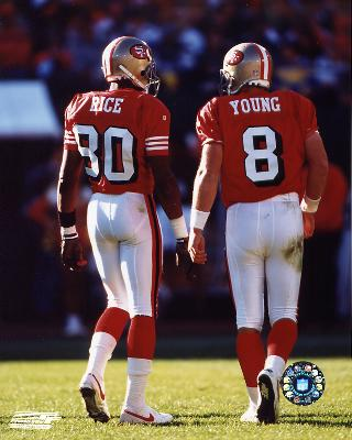 """Steve Young and Jerry Rice, San Francisco 49ers, Double Matte  8"""" X 10"""" Photograph in Black Anodized Aluminum"""