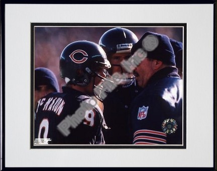 """Jim McMahon and Mike Ditka, Chicago Bears, Double Matte  8"""" X 10"""" Photograph in Black Anodized Aluminum Frame"""