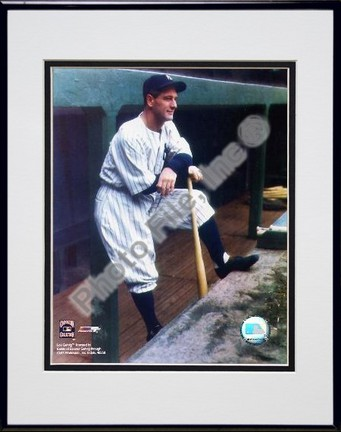 Lou Gehrig In Dugout Color Double Matted 8 X 10 Photograph in Black Anodized Aluminum Frame