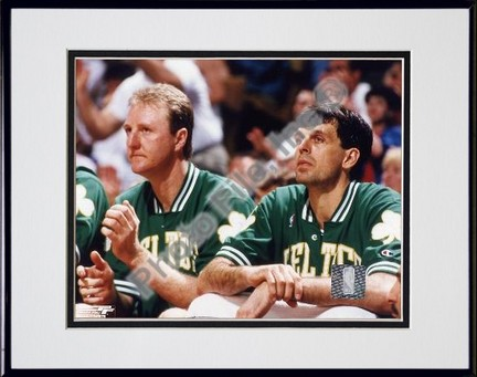Larry Bird and Kevin McHale # 2 Double Matted 8 X 10 Photograph in Black Anodized Aluminum Frame