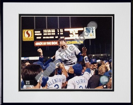 Nolan Ryan 6th No Hitter Celebration Double Matted 8 X 10 Photograph in Black Anodized Aluminum Frame