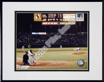 Nolan Ryan 6th No Hitter Last Pitch Double Matted 8 X 10 Photograph in Black Anodized Aluminum Frame