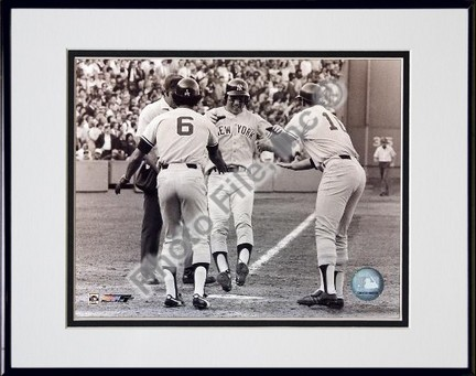Bucky Dent 1978 Playoff Home Run Sepia Double Matted 8 X 10 Photograph in Black Anodized Aluminum Frame