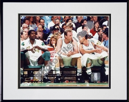 "Kevin McKale, Larry Bird and Robert Parish Double Matted 8"" x 10"" Photograph in Black Anodized Aluminum Frame"