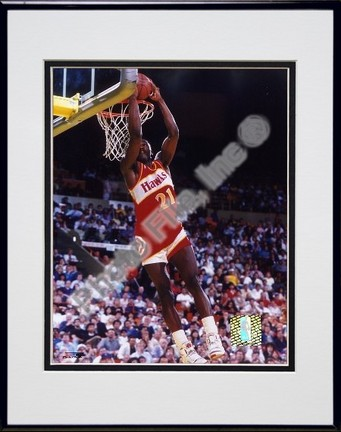 """Dominique Wilkins """"Dunking"""" Double Matted 8"""" X 10"""" Photograph in a Black Anodized Aluminum Frame"""