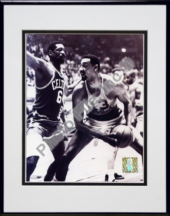 """Bill Russell and Wilt Chamberlain """"#2"""" Double Matted 8"""" x 10"""" Photograph in Black Anodized Aluminum"""