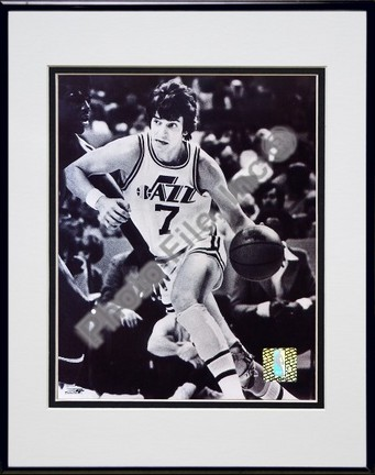 """Pete Maravich """"Court Action"""" Double Matted 8"""" x 10"""" Photograph in Black Anodized Aluminum Frame"""