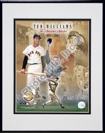Ted Williams Photo File Gold  Limited Edition Double Matted 8 X 10 Photograph in Black Anodized Aluminum Frame