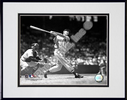 Ted Williams Batting Sepia Double Matted 8 X 10 Photograph in Black Anodized Aluminum Frame