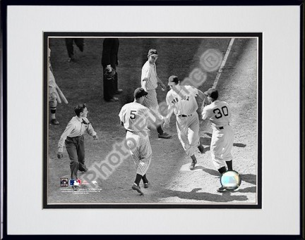 Ted Williams Homeplate Sepia Double Matted 8 X 10 Photograph in Black Anodized Aluminum Frame
