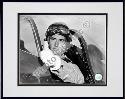 Ted Williams Fighter Pilot Sepia Double Matted 8 X 10 Photograph in Black Anodized Aluminum Frame