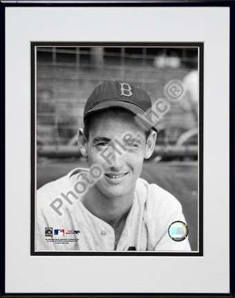 Ted Williams Portrait Sepia Double Matted 8 X 10 Photograph in Black Anodized Aluminum Frame