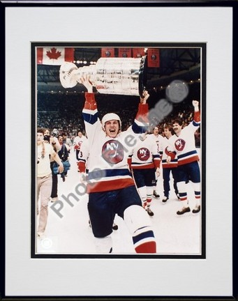 """Mike Bossy """"""""With Stanley Cup"""""""" Double Matted 8"""""""" X 10"""""""" Photograph in Black Anodized Aluminum Frame"""" PHF-AAFV031-37"""