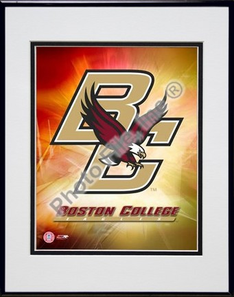 """Boston College Eagles Logo Double Matted 8"""" x 10"""" Photograph in Black Anodized Aluminum Frame"""