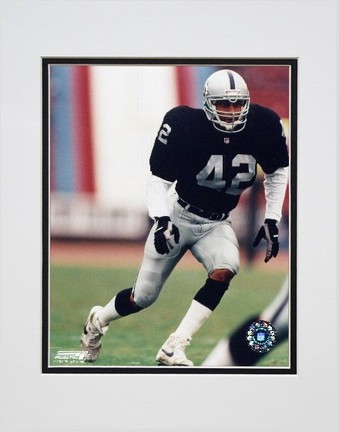 """Ronnie Lott Los Angeles Raiders """"Action"""" Double Matted 8"""" x 10"""" Photograph (Unframed)"""