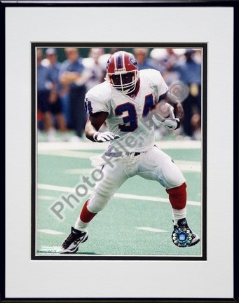 """Thurman Thomas """"Action"""" Double Matted 8"""" x 10"""" Photograph in Black Anodized Aluminum Frame"""