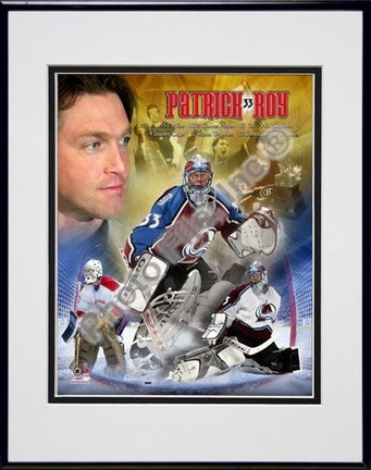 """Patrick Roy """"Legends"""" Double Matted 8"""" x 10"""" Photograph in Black Anodized Aluminum Frame"""