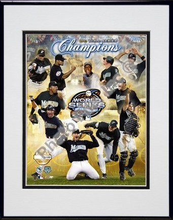 """2003 Florida Marlins Champions Composite Photo File Gold Limited Edition Double Matted 8"""" x 10"""" Photograph in"""