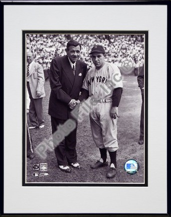 """Babe Ruth / Yogi Berra Double Matted 8"""" x 10"""" Photograph in Black Anodized Aluminum Frame"""