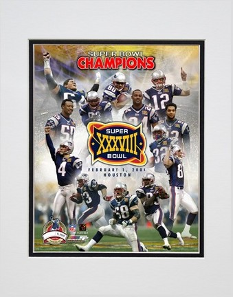 """New England Patriots """"Super Bowl XXXVIII Champions Limited Edition (Photo File Gold) Composite"""" Double Matted"""