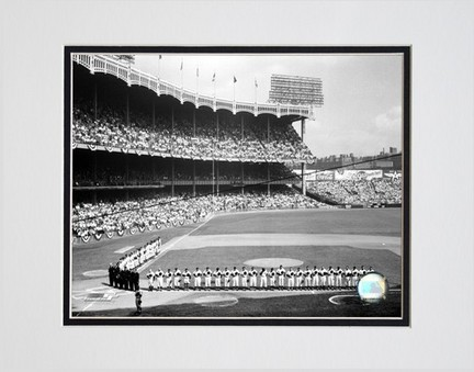 """Yankee Stadium Left Field 1955 World Series Opening Game Double Matted 8"""" x 10"""" Photograph (Unframed)"""