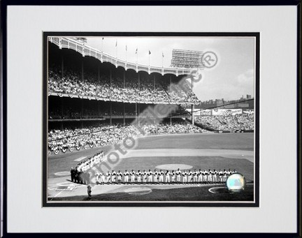 """Yankee Stadium Left Field 1955 World Series Opening Game Double Matted 8"""" x 10"""" Photograph in Black Anodized A"""