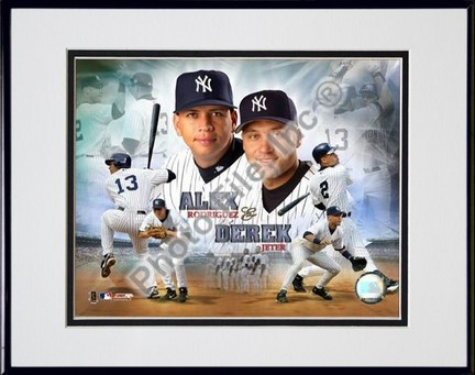 "Alex Rodriguez and Derek Jeter ""Portrait Plus"" Double Matted 8"" X 10"" Photograph in Black Anodized A"