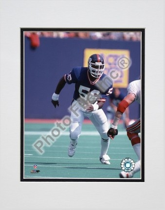 """Lawrence Taylor """"Game Action"""" Double Matted 8"""" X 10"""" Photograph (Unframed)"""