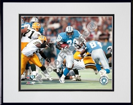 """Barry Sanders """"Game Action"""" Double Matted 8"""" X 10"""" Photograph in Black Anodized Aluminum Frame"""