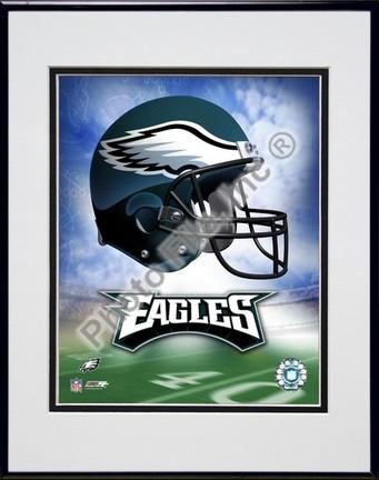 "Philadelphia Eagles ""Helmet Logo"" Double Matted 8"" X 10"" Photograph in Black Anodized Aluminum Frame"