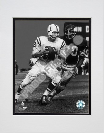 "Johnny Unitas Passing Action (Black & White) Double Matted 8"" X 10"" Photograph (Unframed)"