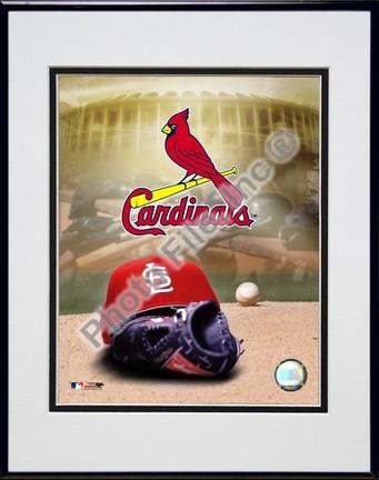St. Louis Cardinals 2004 Logo  Cap Double Matted 8 X 10 Photograph in Black Anodized Aluminum Frame