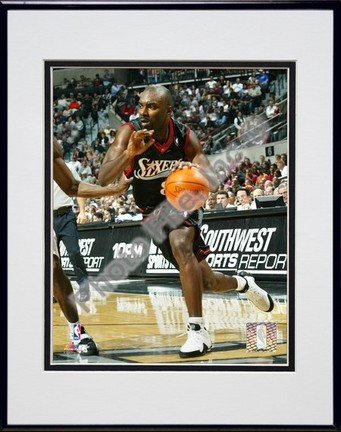 Aaron McKie 2004  2005 Action Double Matted 8 X 10 Photograph in Black Anodized Aluminum Frame