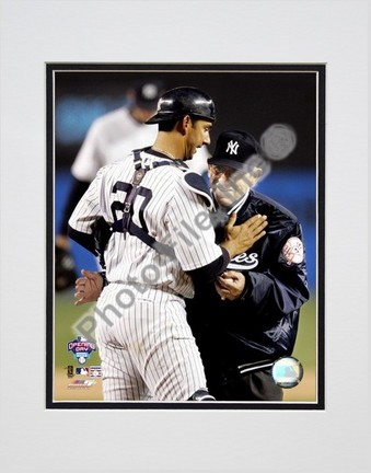 Jorge Posada and Yogi Berra 2005 Opening Day Double Matted 8 X 10 Photograph Unframed